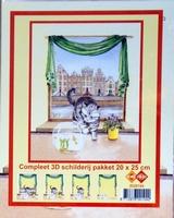 3D Schilderij 20X25cm poes 5 lagen N4.