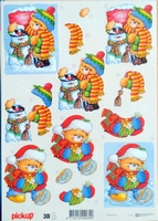 PICKUP041 Knipvel sneeuwpop teddybeer