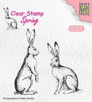 SPCS014 Clear stamps spring/Easter Two hares