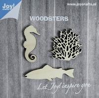 6320/0004 Woodsters - Houten figuren - Zeepaard- koraal- vis