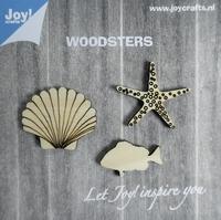 6320/0003 Woodsters - Houten figuren - Zeester- schelp- vis