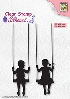 SIL076 Clear stamps Silhouettes Boy & girl swiging