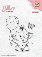 NCCS007 Nellie's Cuties Clear stamps Baby elephant with ball