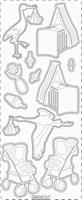 PU364TRZ Stickers Geboorte Transparant Zilver