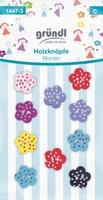 1447-3 Houten knoop Bloemen