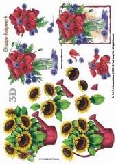 416955 Zonnebloemen en Klaprozen