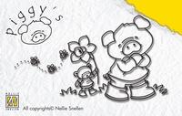 PI010 Nellie Snellen Stempel Pig Flower