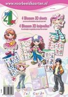 S43009 4ForYou boekje met 4 Blossom 3D vellen + basiskarton