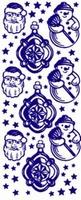ST524Z Sticker Kerstman/Sneeuwpop  Zilver