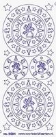 ST3024WG Sticker Cirkels Kerststerren Wit/Goud
