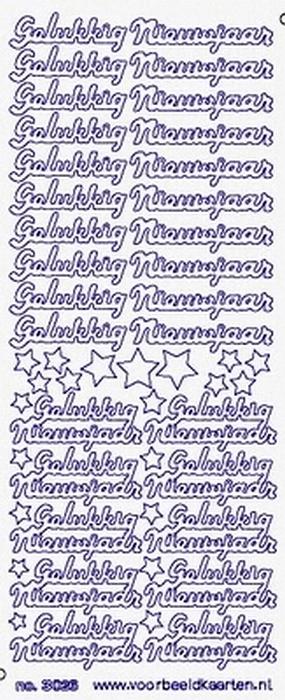 St3026g Sticker Gelukkig Nieuwjaar Goud